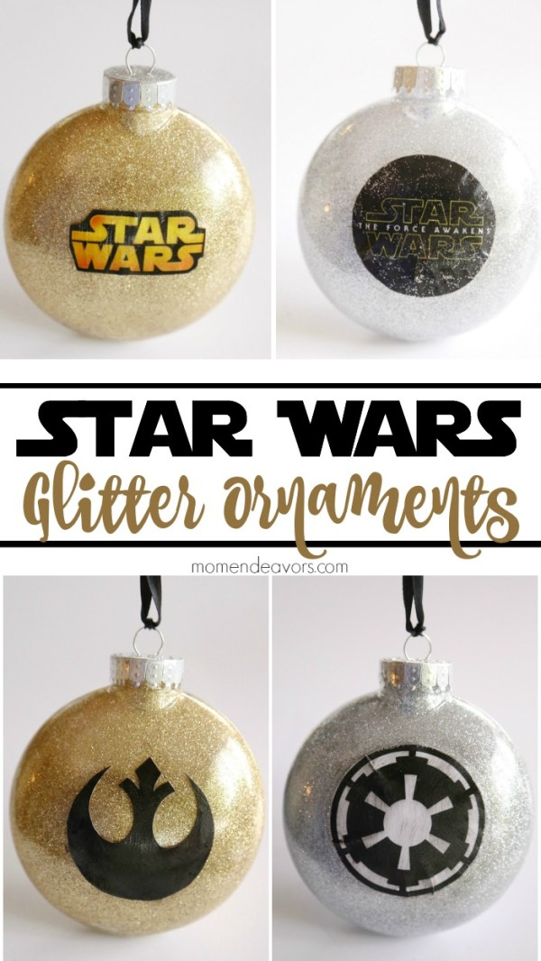 DiY Star Wars glitter ornaments from Mom Endeavors
