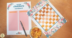 Printable spring checkers game with Pepperidge Farm® Goldfish® crackers