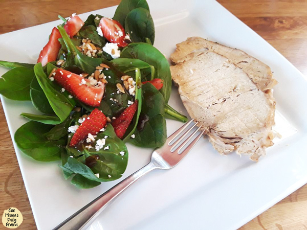 pork loin roast with strawberry spinach salad