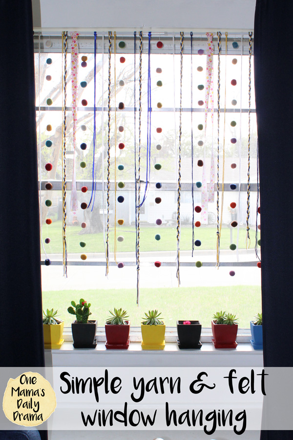 How to make a simple yarn and felt window hanging and rainbow succulent pots for spring decor