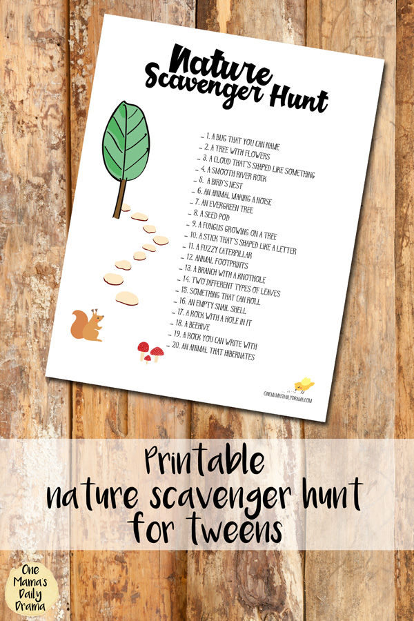 Printable nature scavenger hunt for tweens