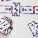 Printable superhero dominoes game