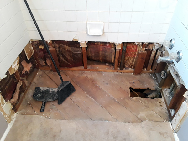 bathroom remodel: tub removed