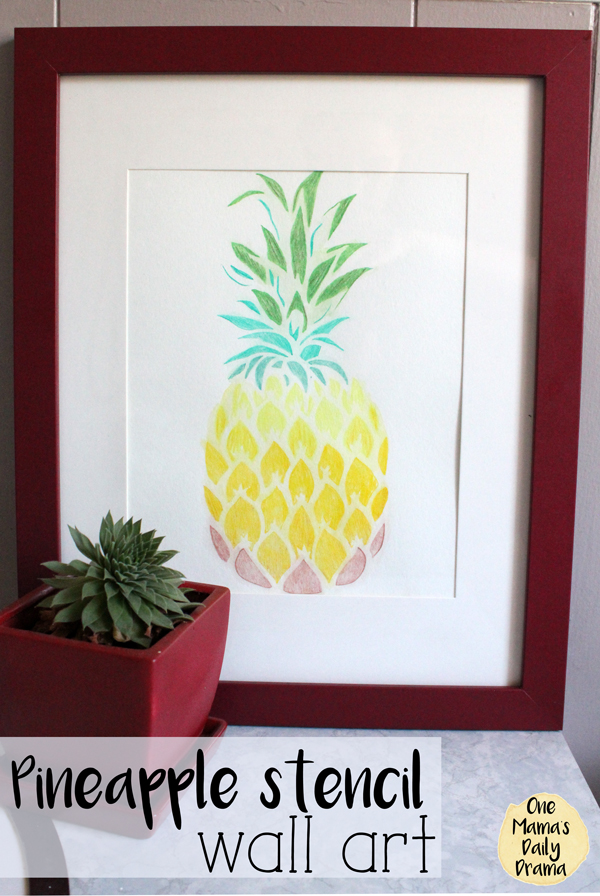 Pineapple stencil wall art tutorial
