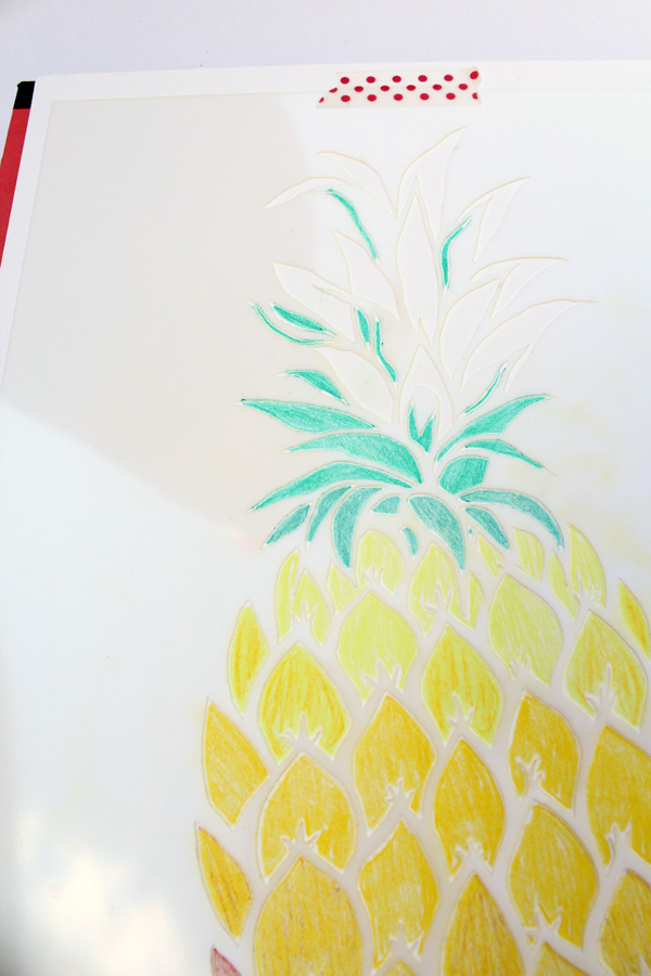 pineapple stencil light green rows