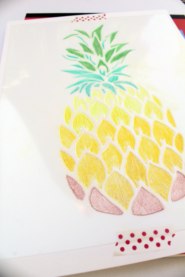 pineapple stencil dark green rows