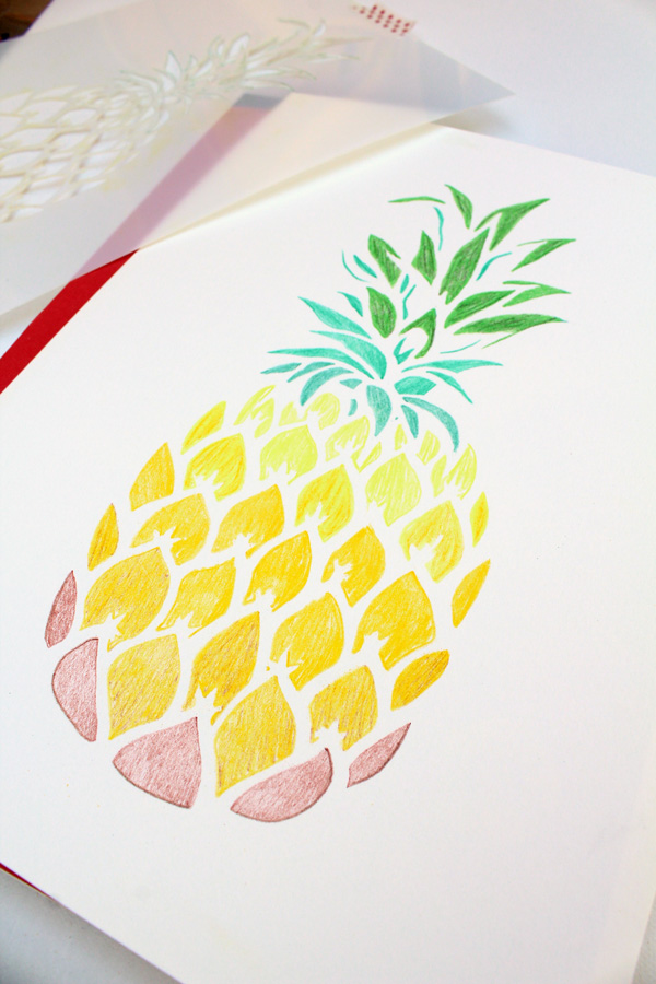 pineapple stencil removed for the next step