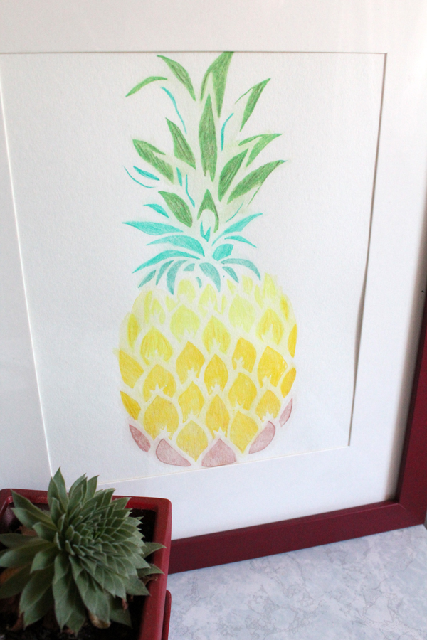 pineapple stencil watercolor art project