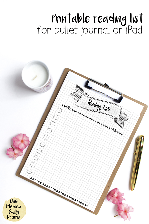 printable reading list for bullet journal on a clipboard