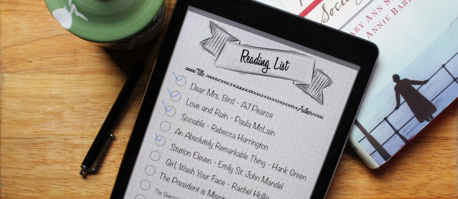 Free printable reading list to print at home for your planner/bullet journal or use with your tablet