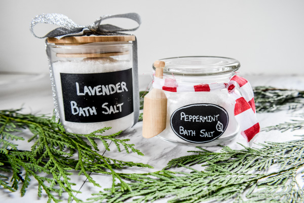 Homemade bath salts in cute jars with pretty labels and ribbon