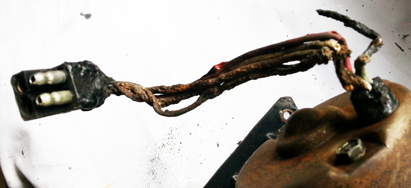 burnt and melted wires
