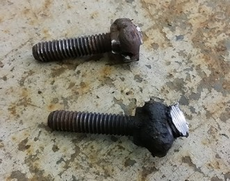 bolts welded to the end of a thread