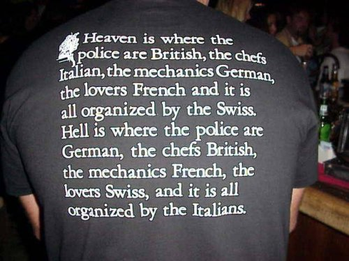 Heaven is where the police are British, the chefs Italian, the mechanics German, the lovers French and it is all organized by the Swiss.  Hell is where the police are German, the chefs British, the mechanics French, the lovers Swiss, and it is all organized by the Italians.
