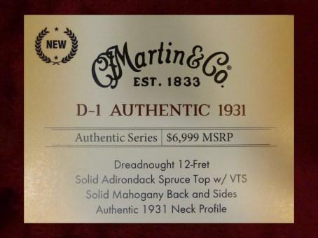 Martin D-1 Authentic 1931 label