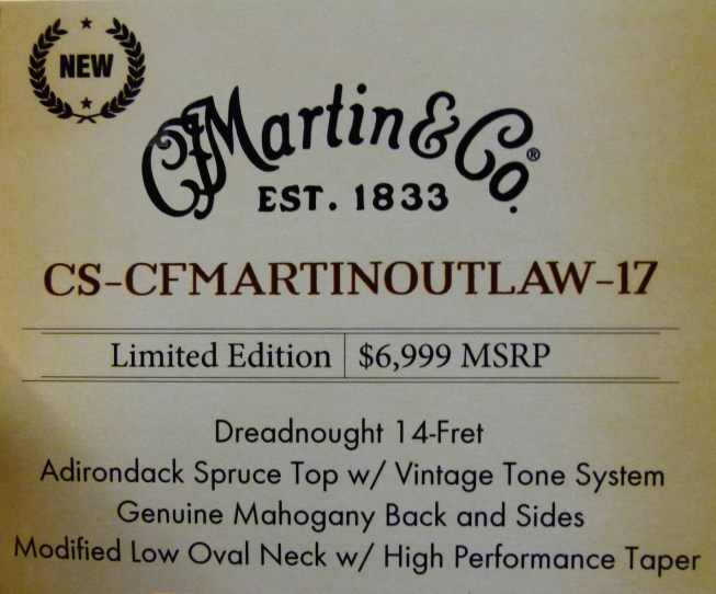 Use CS-CFMartin Outlaw-17 NAMM Label