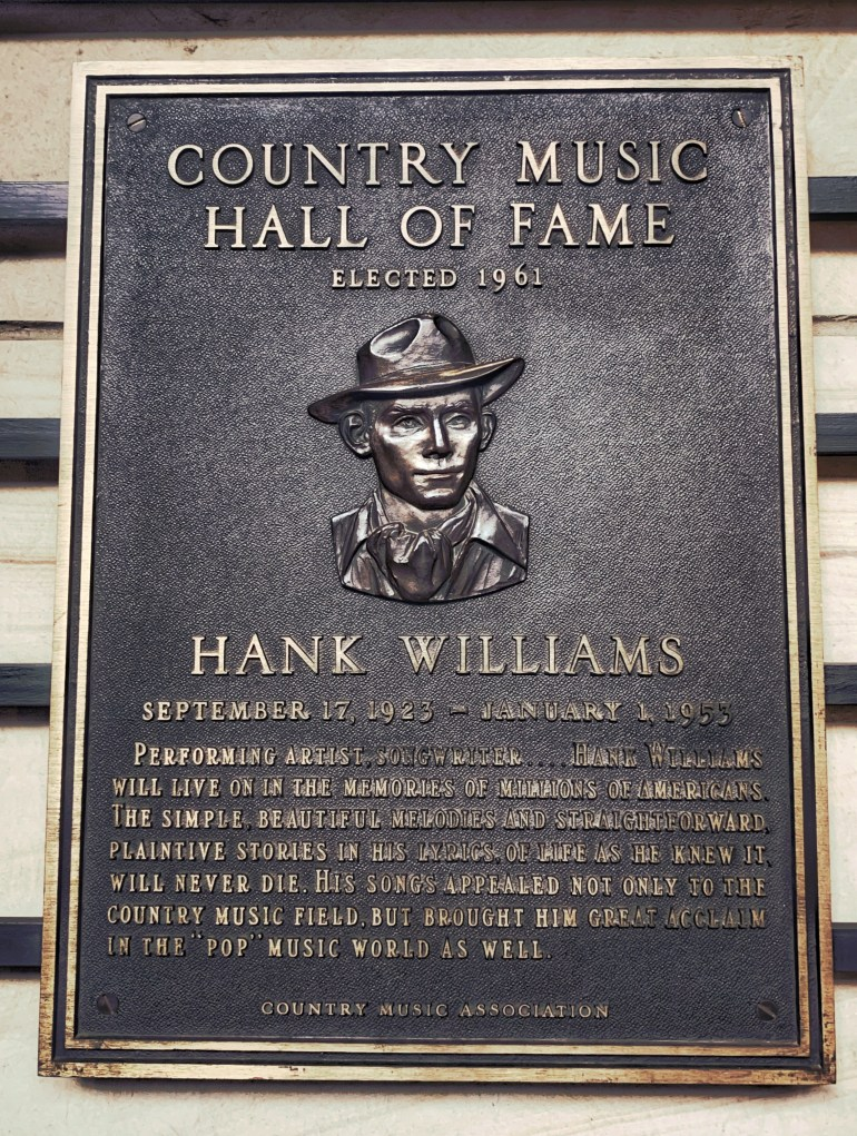 Hank Williams at the Country Music Hall of Fame in Nashville, Tennessee