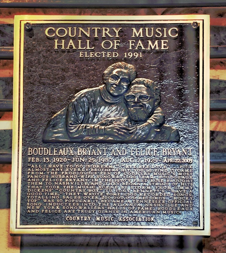 Boudleaux and Felice Bryant at the Country Music Hall of Fame in Nashville, Tennessee