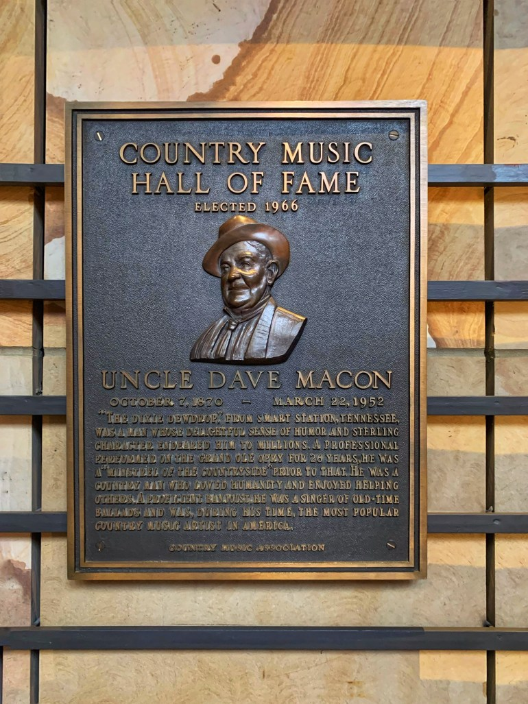 Uncle Dave Macon at the Country Music Hall of Fame in Nashville, Tennessee