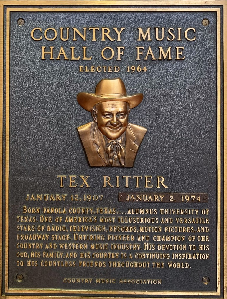 Tex Ritter at the Country Music Hall of Fame in Nashville, Tennessee