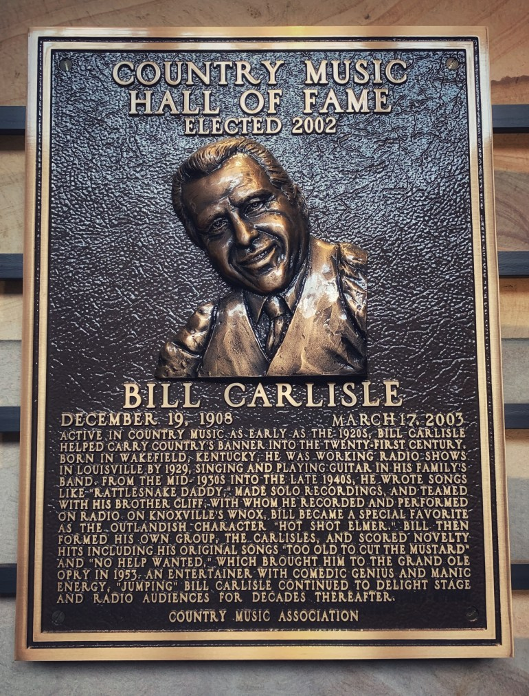 Bill Carlisle at the Country Music Hall of Fame in Nashville, Tennessee