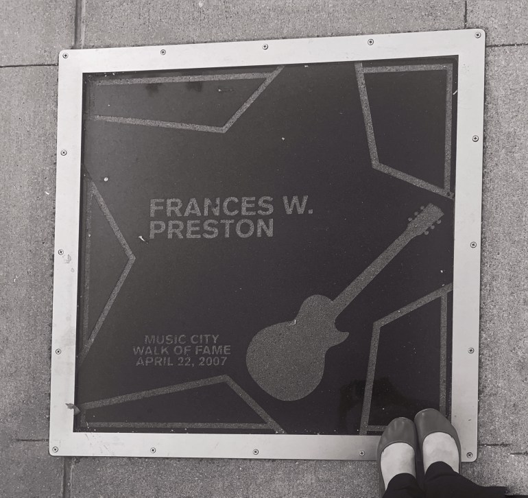 Black and White: Frances W Preston on the Music City Walk of Fame in Nashville, Tennessee