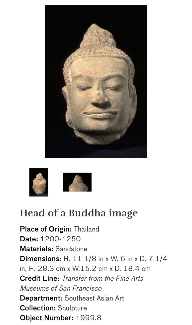 Head of a Buddha Image: Touring Art Museums During Covid: Divine Bodies at the Asian Museum of Art in San Francisco