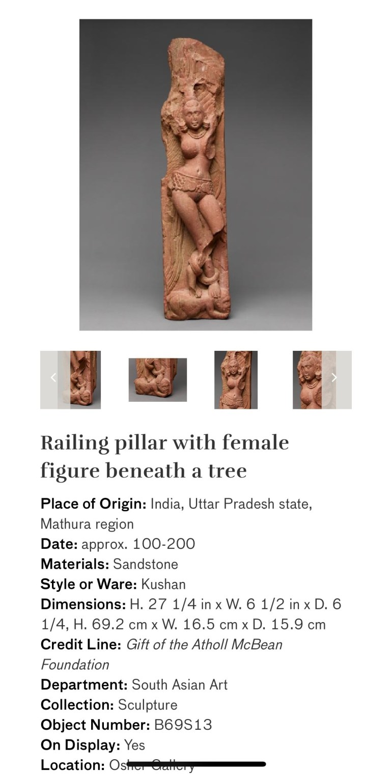 Railing Pillar with Female Figure Beneath a Tree: Touring Art Museums During Covid: Divine Bodies at the Asian Museum of Art in San Francisco