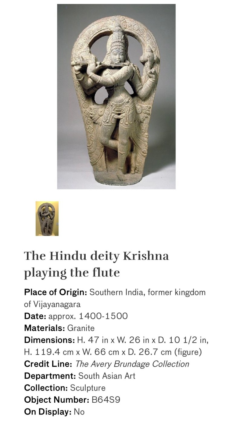 The Hindu Deity Krishna Playing the Flute: Touring Art Museums During Covid: Divine Bodies at the Asian Museum of Art in San Francisco