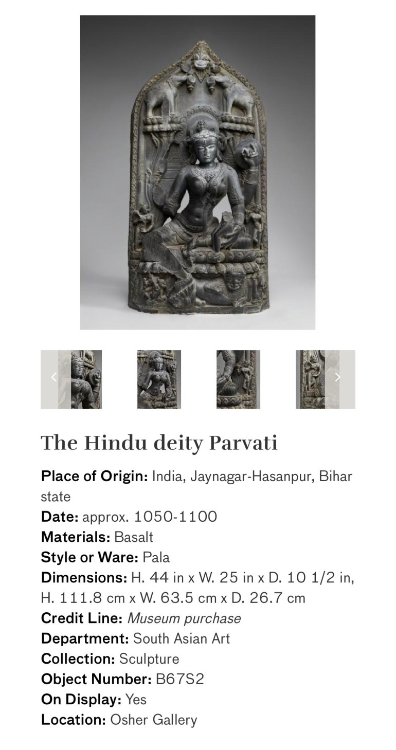 The Hindu Deity Parvati: Touring Art Museums During Covid: Divine Bodies at the Asian Museum of Art in San Francisco