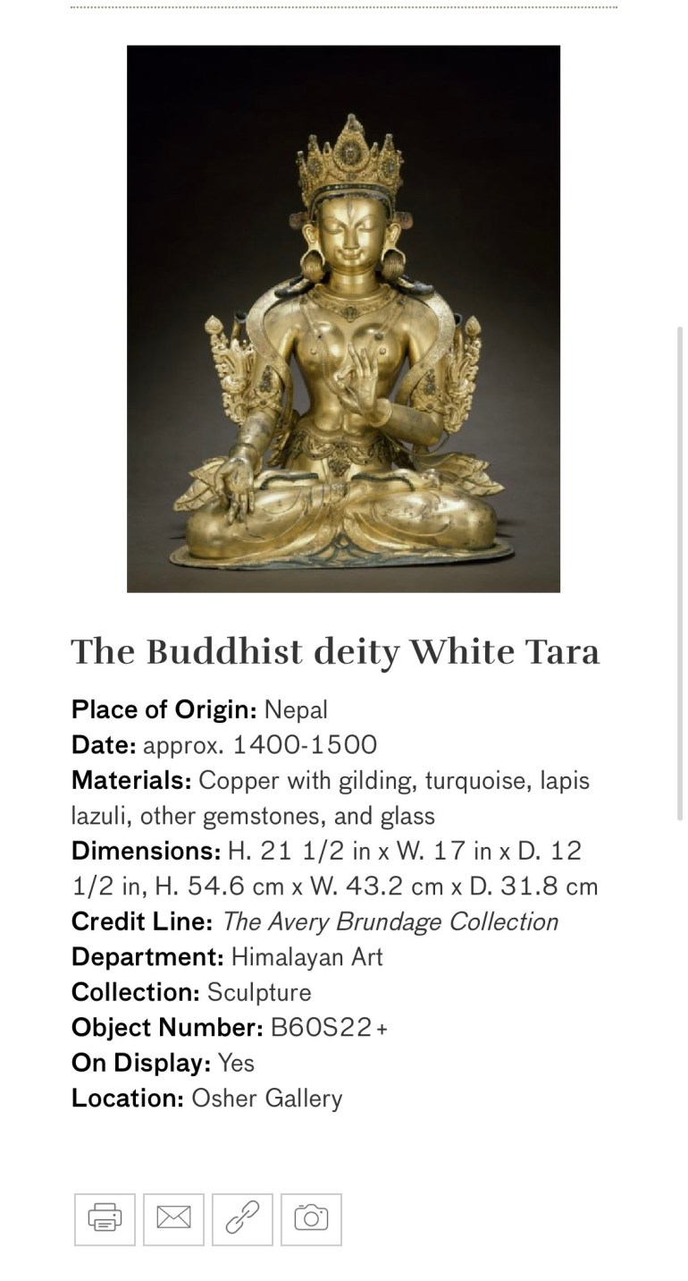 The Buddhist Deity White Tara: Touring Art Museums During Covid: Divine Bodies at the Asian Museum of Art in San Francisco
