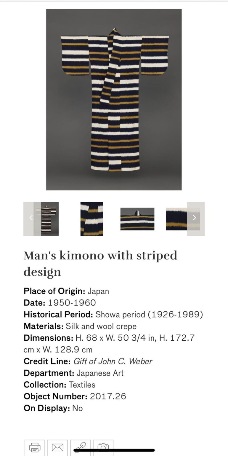 Man's Kimono with Striped Design: Touring Art Museums During Covid: Asian Art Museum Masterpieces at the Asian Museum of Art in San Francisco