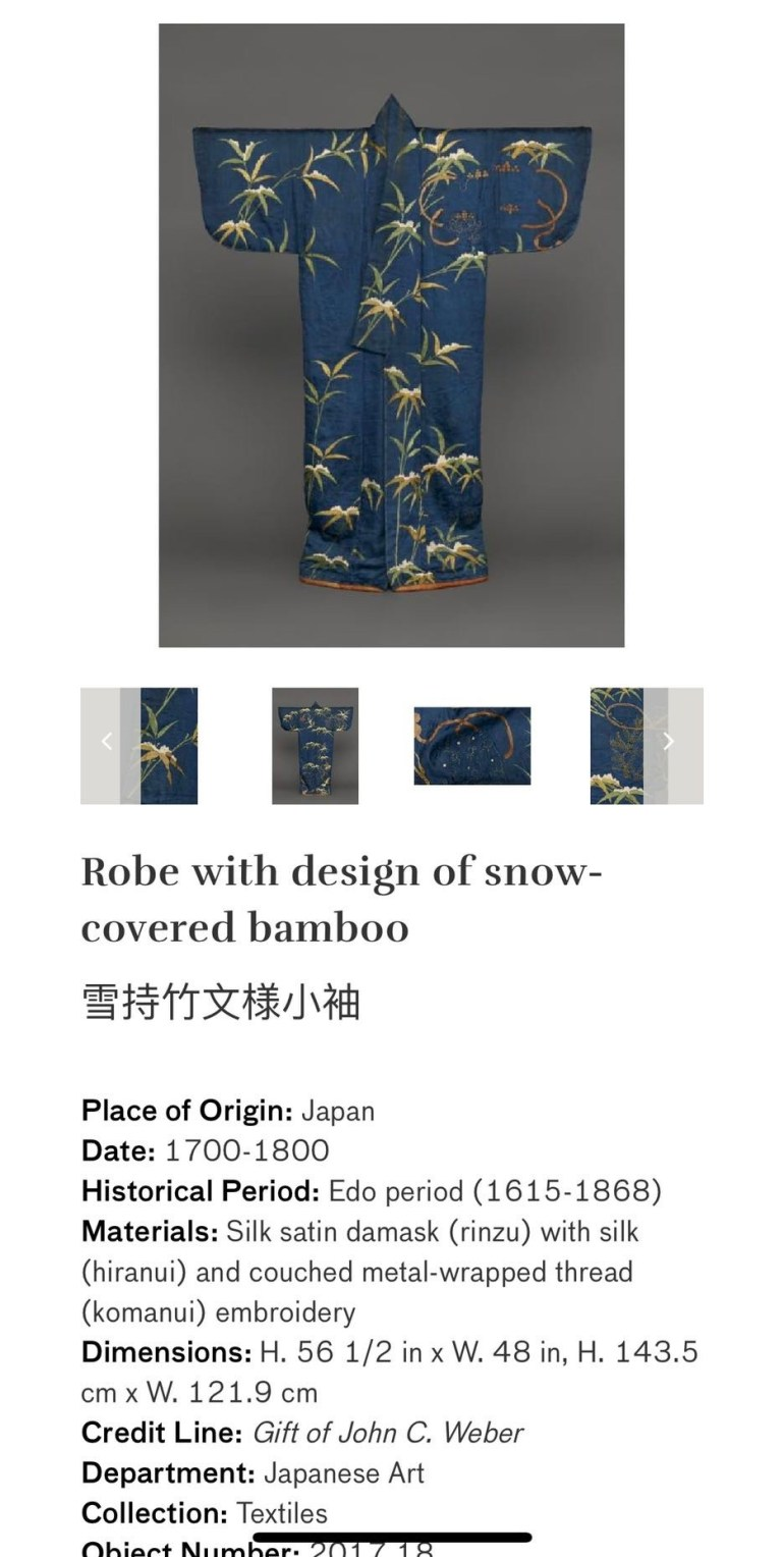 Robe with Design of Snow-Covered Bamboo: Touring Art Museums During Covid: Asian Art Museum Masterpieces at the Asian Museum of Art in San Francisco