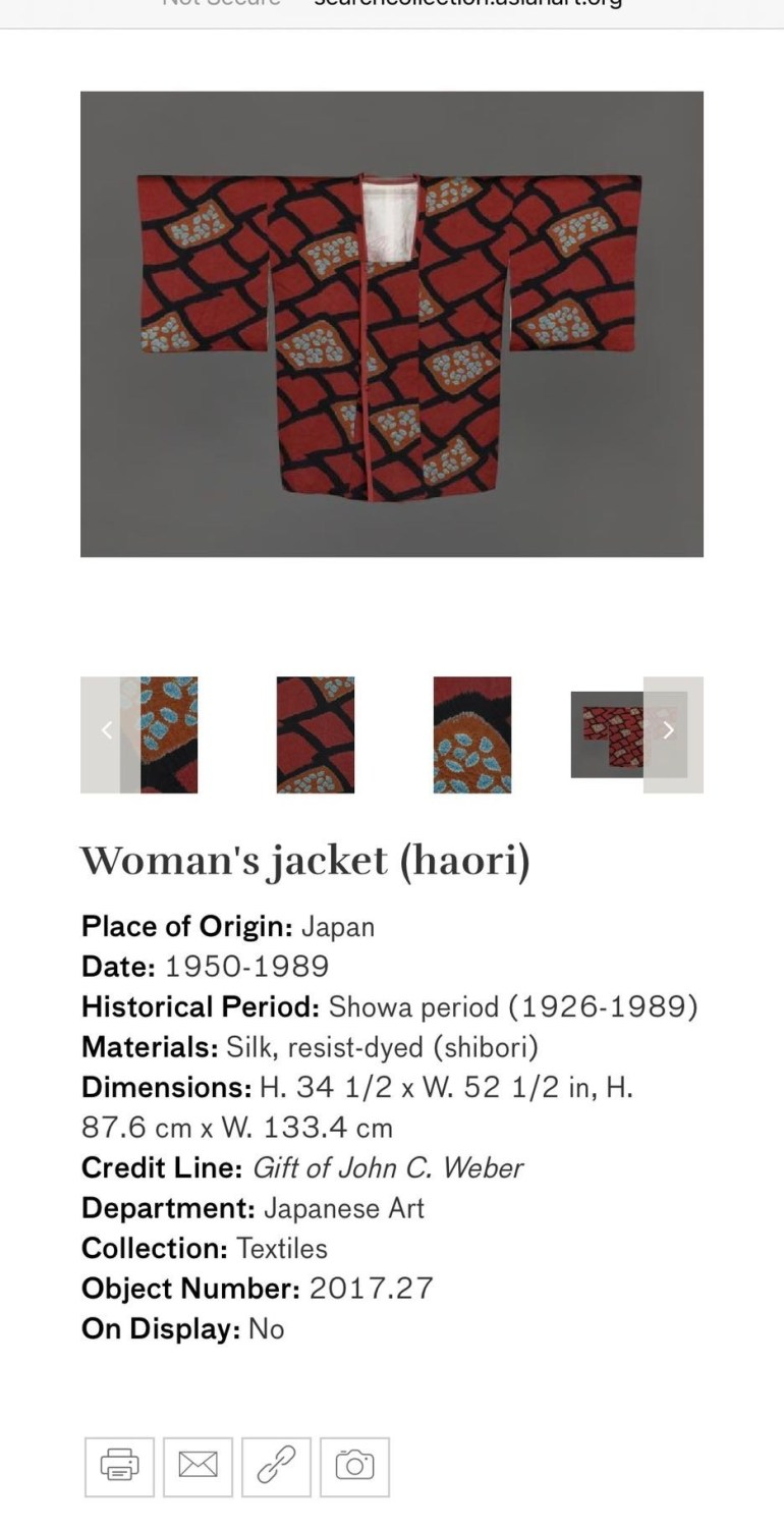 Woman's Jacket (Haori): Touring Art Museums During Covid: Asian Art Museum Masterpieces at the Asian Museum of Art in San Francisco