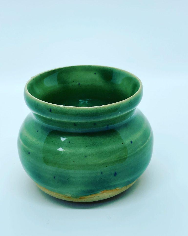 A Miniature Vase Glazed in Amaco Celadon Glaze