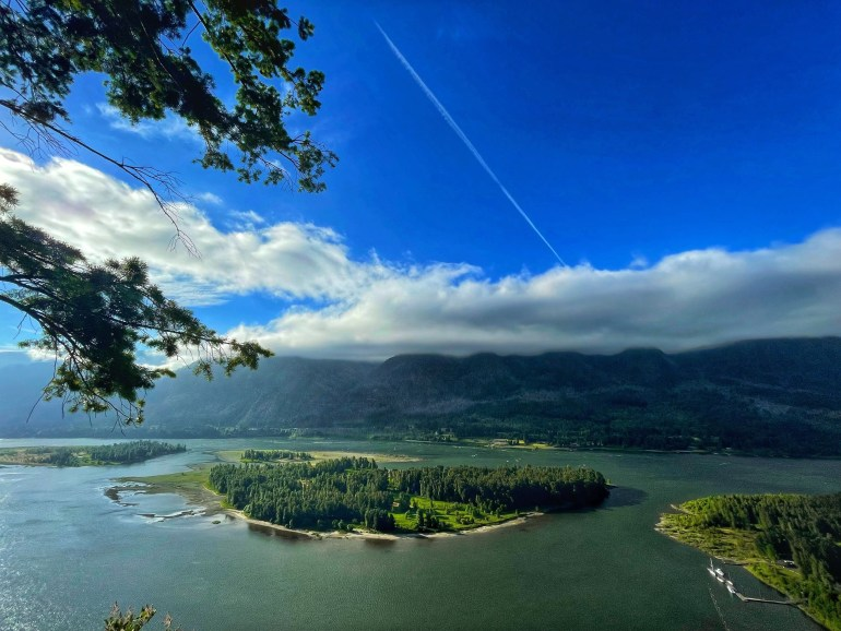 Big Boat (that looks tiny in the photo) at Beacon Rock State Park in Washington State