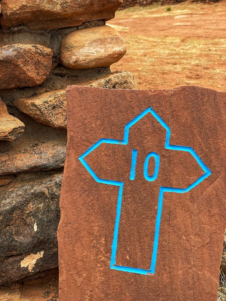 Blue Cross Marker at Pecos National Historic Park in New Mexico