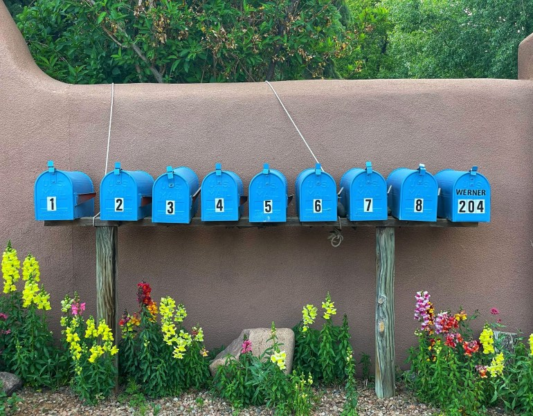 Blue Mailboxes all Lined Up on Canyon Road in Santa Fe, New Mexico