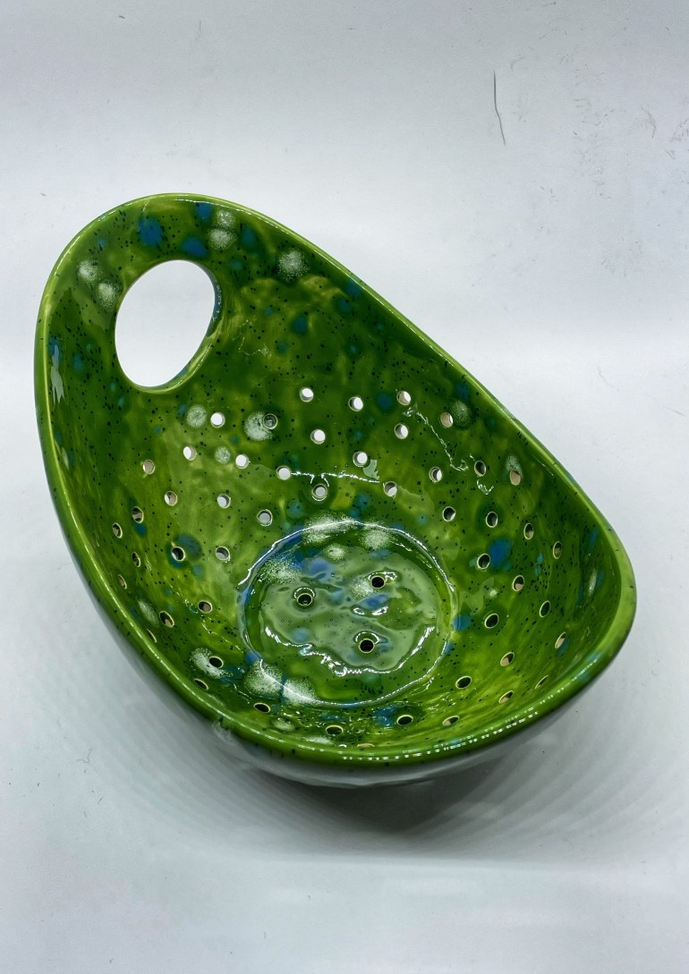 Hand built Pottery: Berry Bowl with Mayco Jungle Gems Glaze