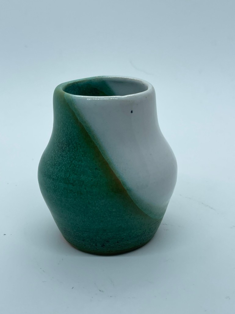 Off the Pottery Wheel: Copper Patina and White Tiny Vase