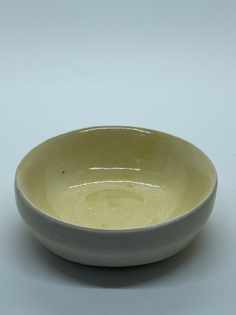 Off the Pottery Wheel: Low Honey Yellow Bowl