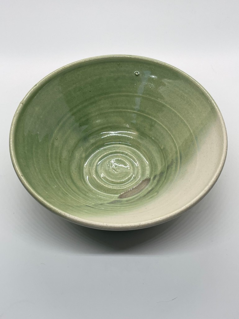 Off the Pottery Wheel: Green and White Ramen Bowl