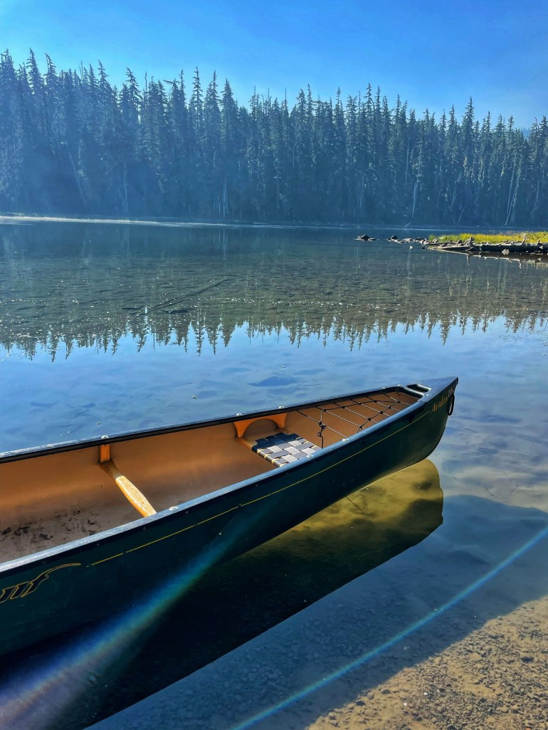 Canoeing on the Crystal Clear Waters of Waldo Lake, Oregon