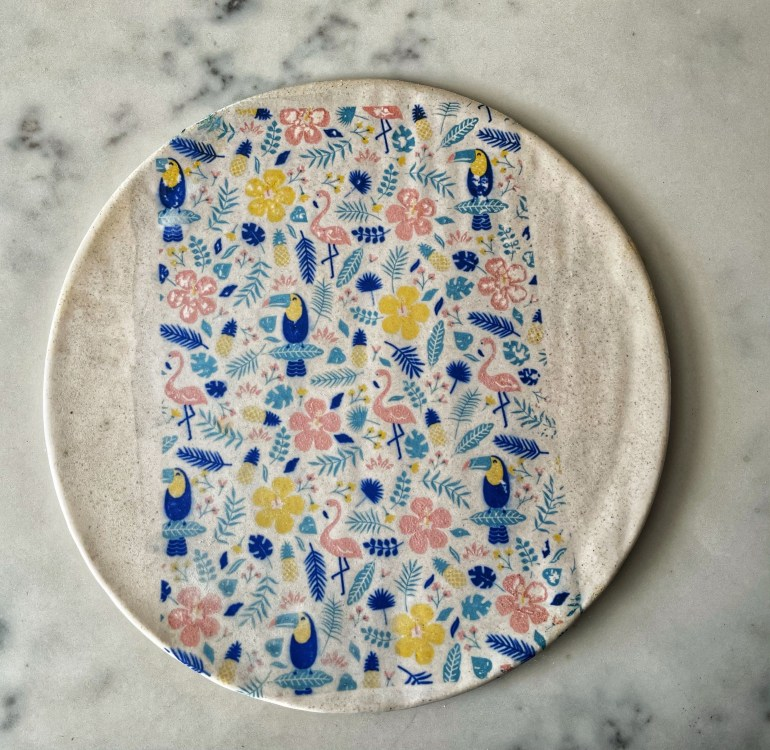 Hand Made Pottery: Hand Built Tropical Themed Plate