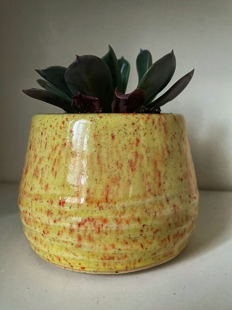 Hand Made Pottery: Yellow Planter with Red Speckles