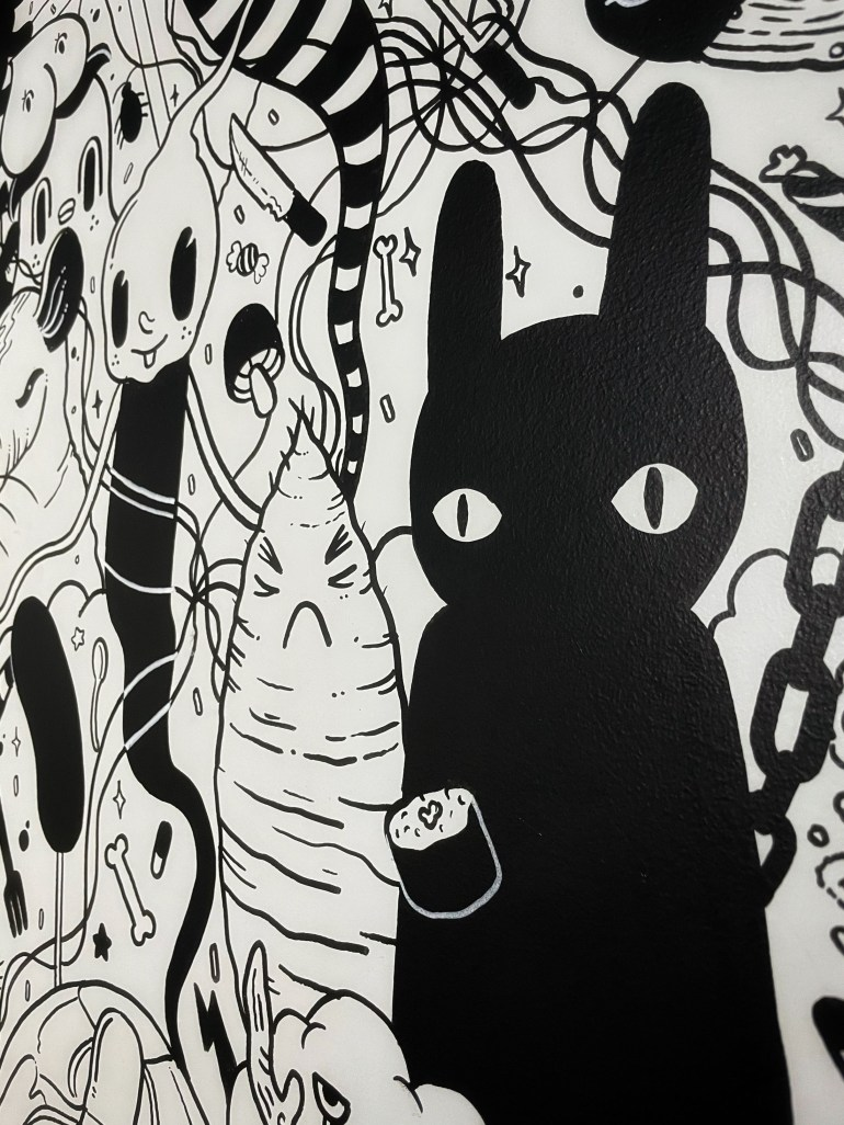 Black and White at Meow Wolf in Santa Fe, New Mexico