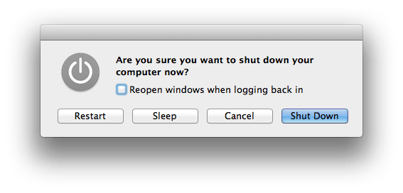 The Restart/Sleep/Shutdown dialog