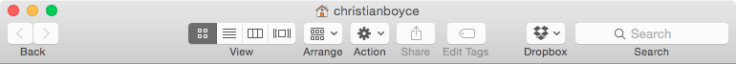 Toolbar with labels in a Finder window