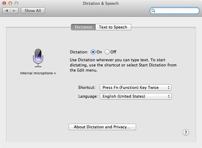 Dictation & Speech preference pane
