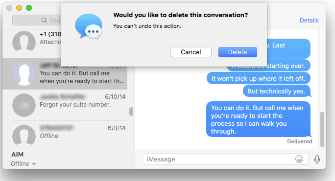 Dialog box in Messages on a Mac, asking whether one wants to delete a conversation
